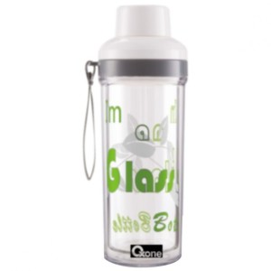 Double Wall Glass Travel Bottle Green