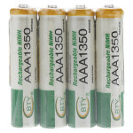 Battery Rechargeable BTY AAA 4pcs 1350mAh