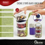 3 Tiers Glass Lunch Box ox 066
