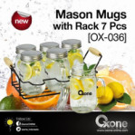 mason mugs with rack 7pcs ox 036