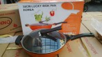 30cm lucky wok pan korea marble /wok pan korea marble orange