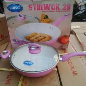 aiko stir wok 28cm non stick heavy gauge alumunium