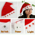 topi natal nyala / hair cap christmast led light